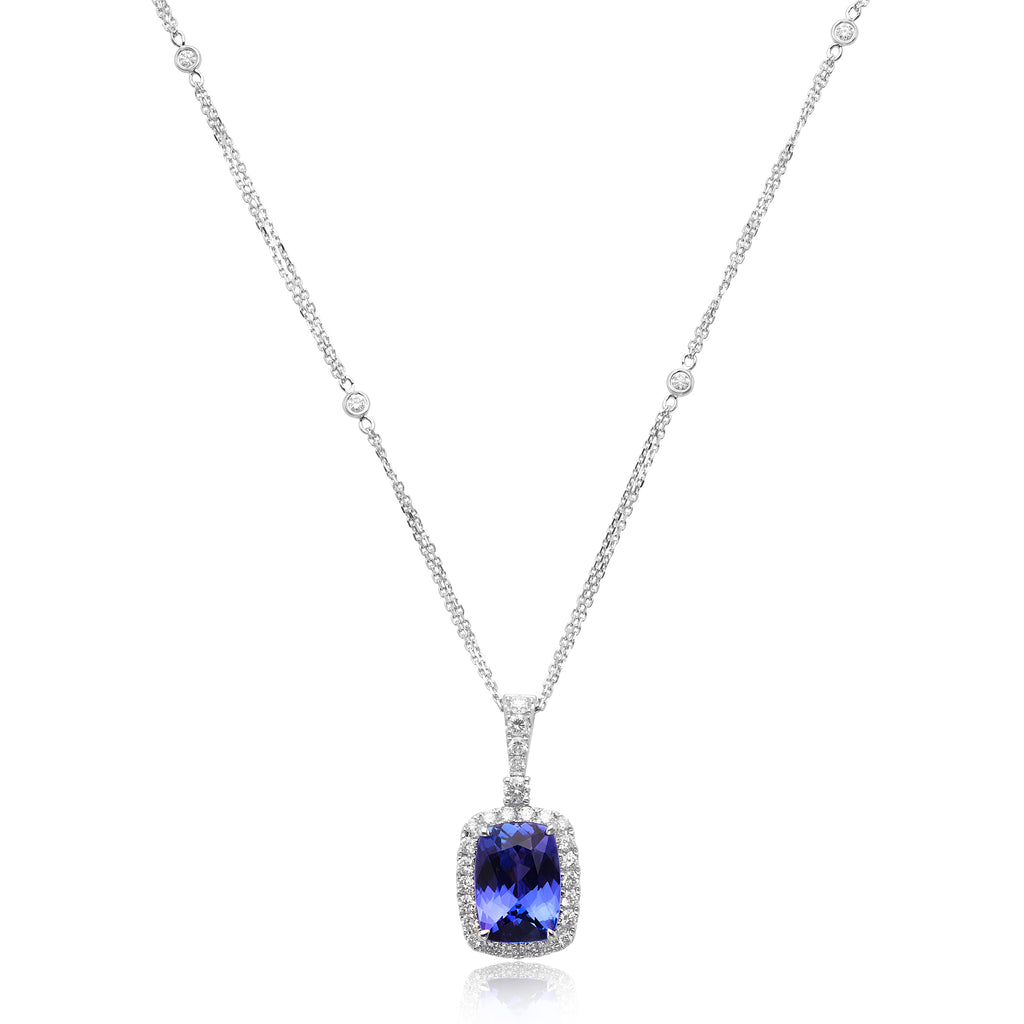 6.02ct Cushion Cut Tanzanite & 1.04ctw Diamond Pendant and Chain in 18kt WG