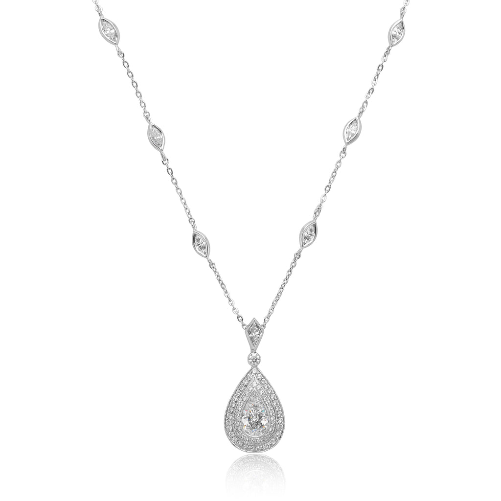 1.28ct Pear Shape Diamond Drop (GIA) Pendant in Platinum