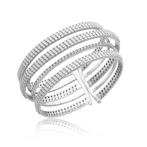10.38ctw Multi-Row Diamond Bracelet in 18kt WG