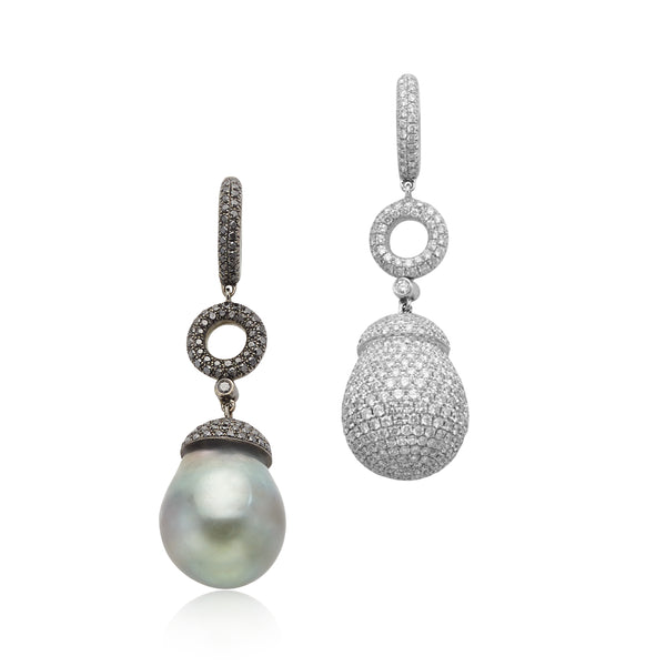 5.32ctw White & Black Diamonds with Tahitian Pearl Mis-match Earrings in 18kt WG