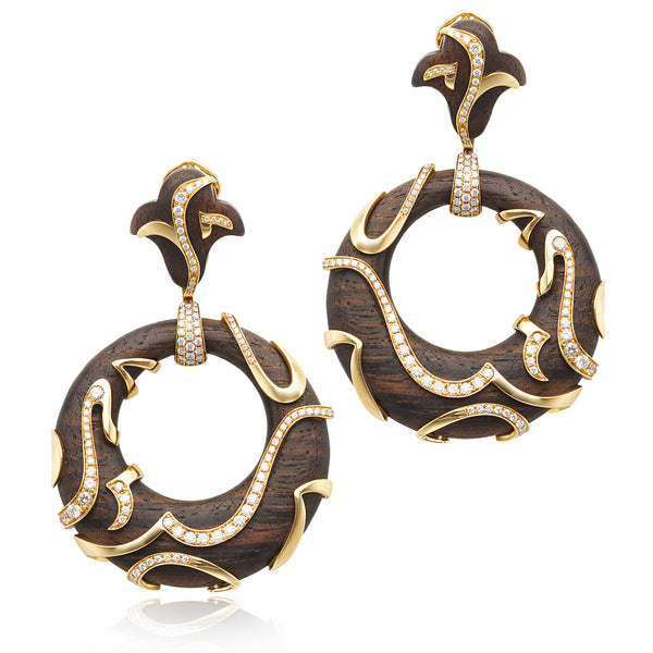 Marina B 1.80ctw Round Diamond & Wood Earrings in 18kt YG