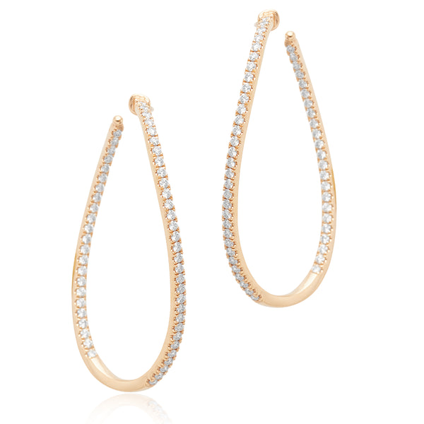 1.52ctw Diamond Twist Hoop Earrings in 18kt RG
