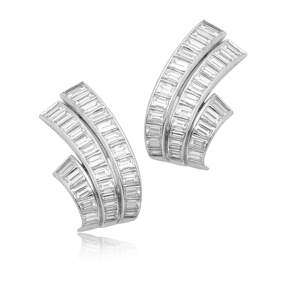 20.30ctw Baguette Diamond Earrings in Platinum