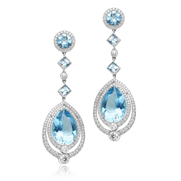 12.41ctw Aquamarine & 1.78ctw Diamond Pave Dangle Earrings in Platinum