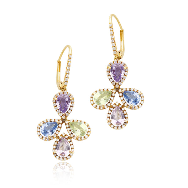 6.49ctw Multi-color Sapphire & 0.85ctw Diamond Earrings in 18kt YG