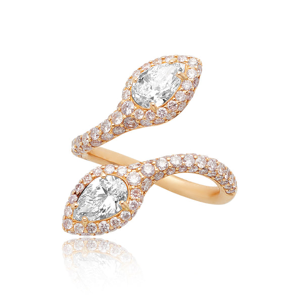 1.42ctw Pear-shape Diamonds & 1.56ctw Pink Diamond Pave Bypass Ring in 18kt RG