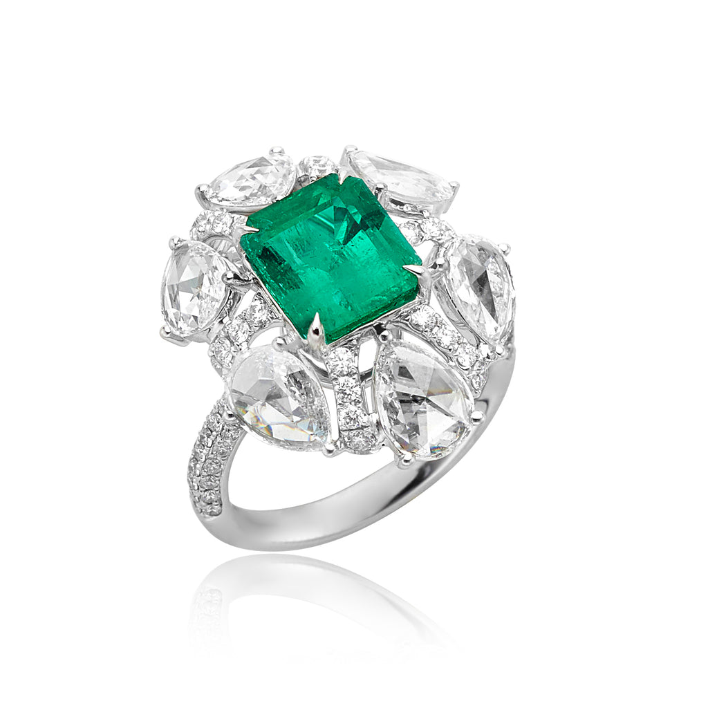 2.33ct Emerald and 1.88ctw Rose-cut Diamond Ring with 0.77ctw Pave in 18kt WG