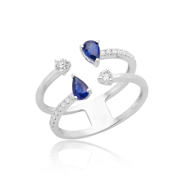 0.62ctw Pear-shape Sapphire & 0.29ctw Round Brilliant Cut Diamond Negative Space Ring in 18kt WG