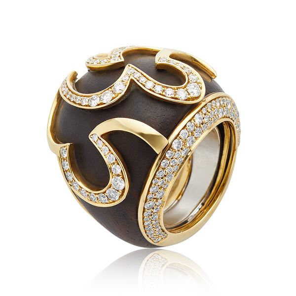 Marina B 1.90ctw Round Diamond & Wood Ring in 18kt YG
