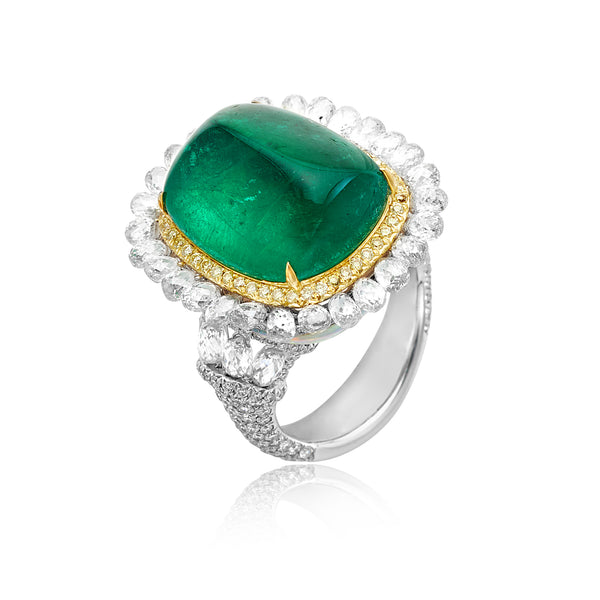 15.73ctw Emerald Sugarloaf, 4.72ctw Opal, 6.34ctw White Diamond & 0.27ctw Yellow Diamond Ring in 18kt WG