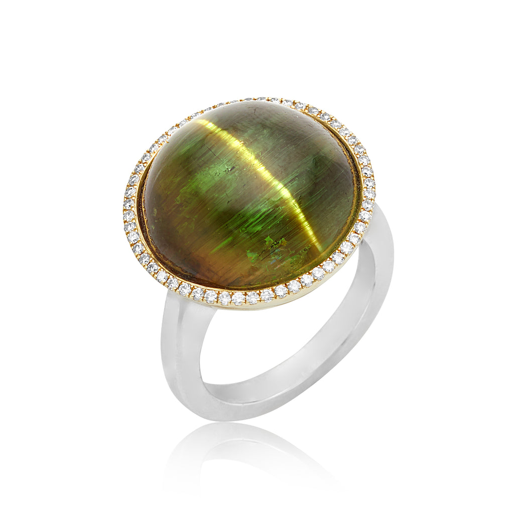 22.42ct Cat's Eye Tourmaline Ring in Bezel with Platinum & 18kt YG