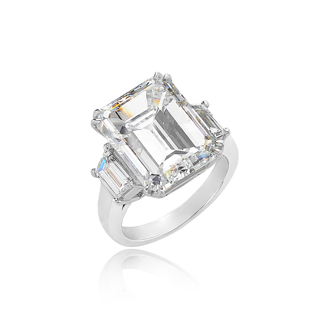 10.01ct Emerald Cut Diamond (GIA) with 0.82ctw Trapezoid Cut Diamonds in Platinum