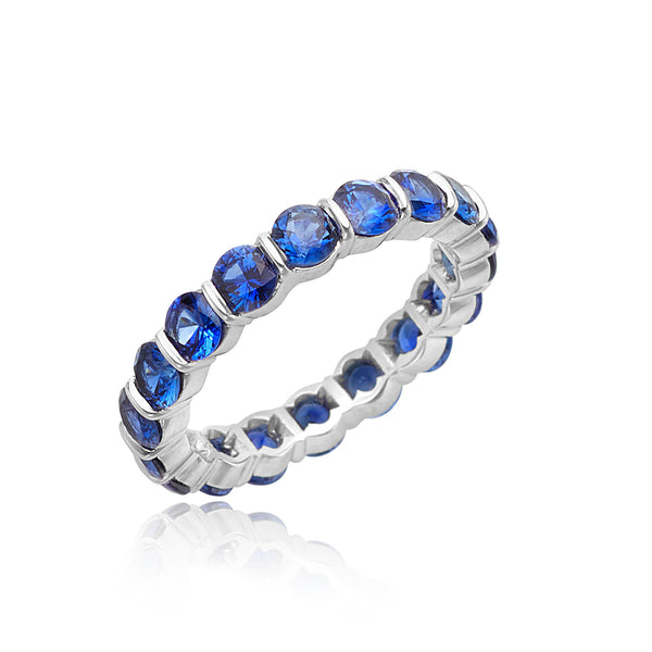 3.19ctw Round Blue Sapphire Eternity Band in Platinum