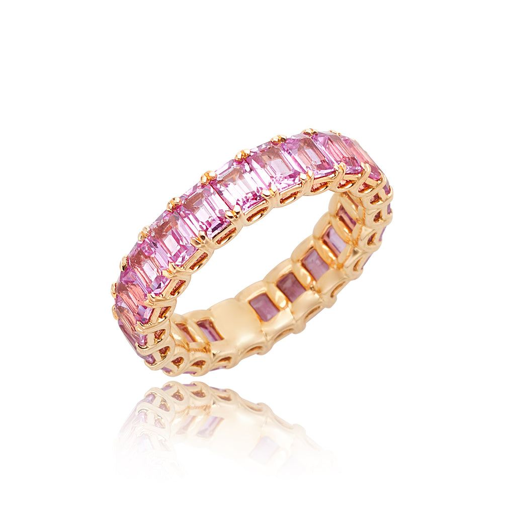 5.59ctw Emerald Pink Sapphire Eternity Band in 18kt RG