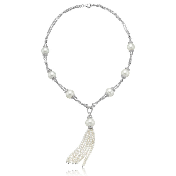 White South Sea Pearl Tassel Necklace with Diamonds in 18kt WG
