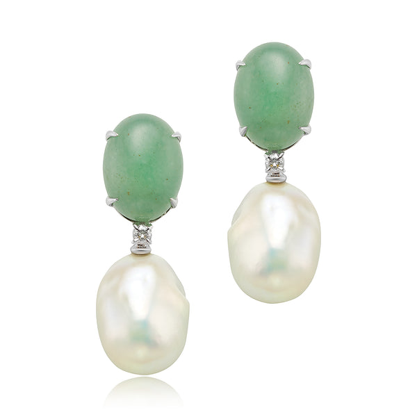 Aventurina and Baroque Pearl Drop Earrings in 18kt WG