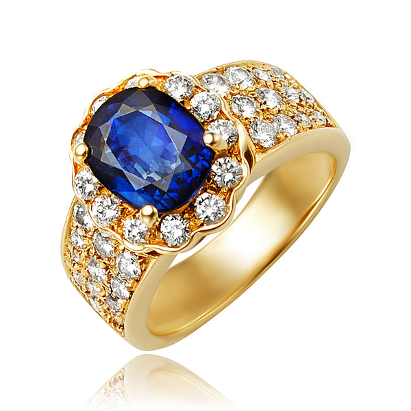 Oval Sapphire and Diamond Ring 18kt YG