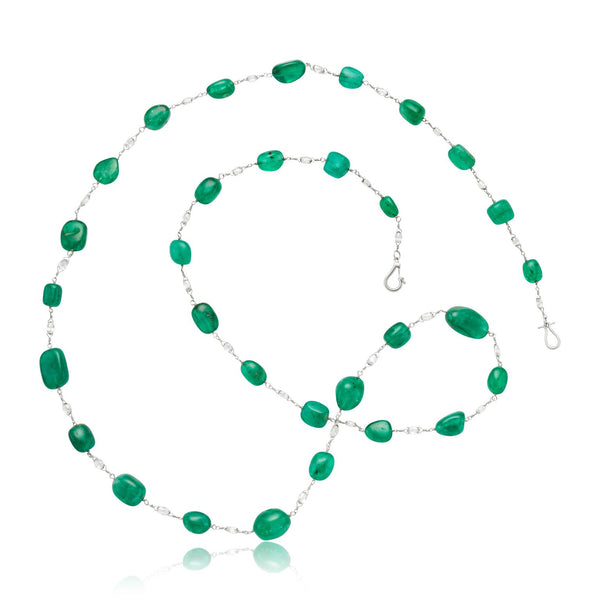 "98.80ctw (31x) Emerald Bead & 5.70ctw (32x) Diamond Briolette 29"" Necklace in Platinum"