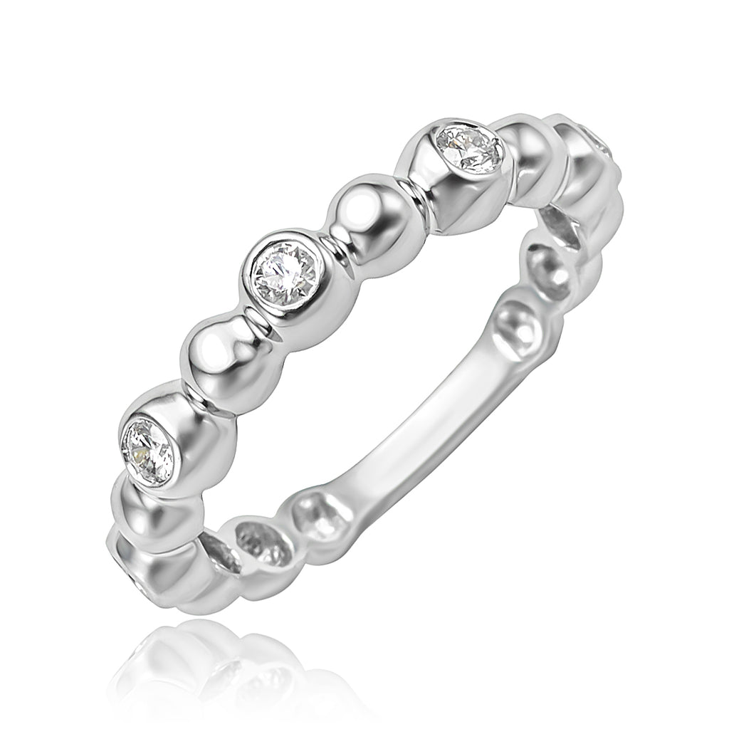 Beaded Stackable Band with 0.20 ctw Diamonds in 18kt WG