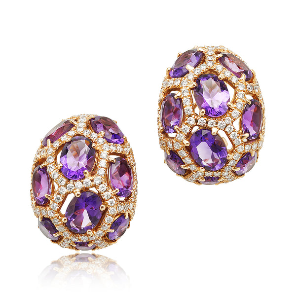 15.08 ctw Amethyst and Diamond Earrings in 18kt RG
