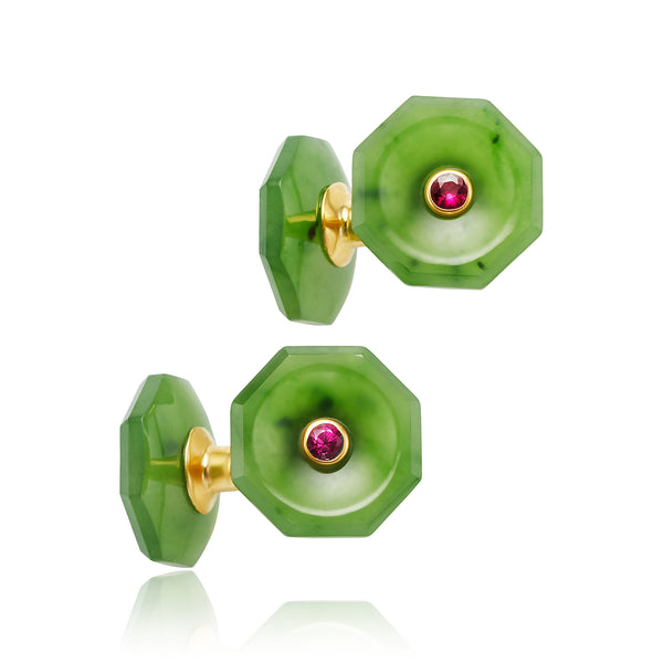 Jade and Ruby Cufflinks in 18kt YG