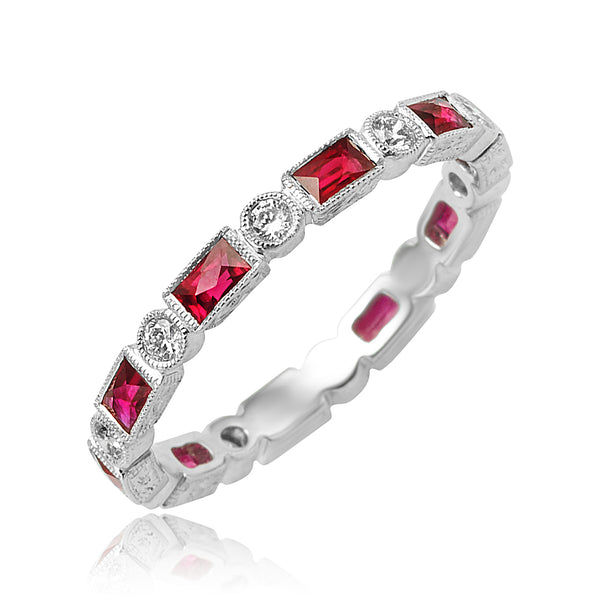 0.86 ctw Ruby and 0.25 ctw Diamond Bezel Set Eternity Band with Milgrain Detail in 18kt WG