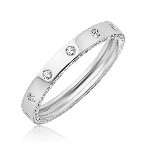0.35 ctw Diamond Band with Pave Diamond Edging in 18kt WG