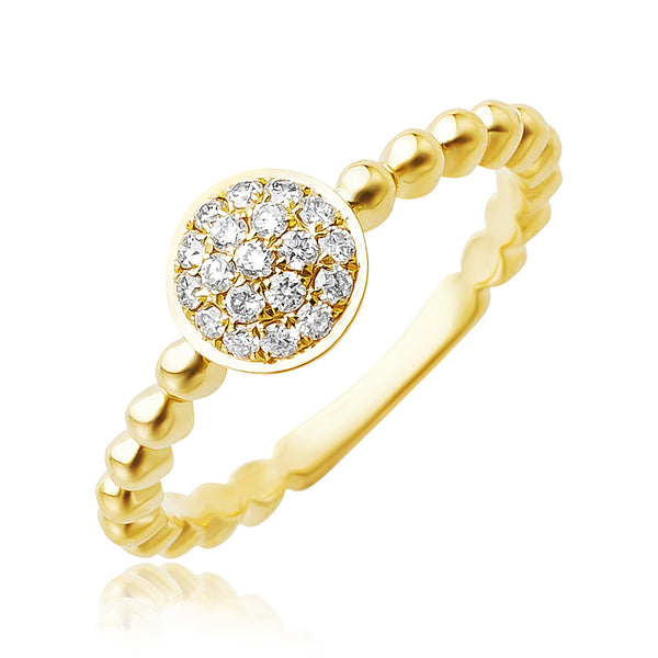 0.20 ctw Pave Diamond Stackable Ring in 18kt YG