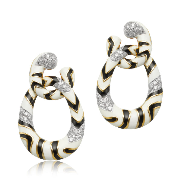 Black and White Enamel Earrings with Diamonds