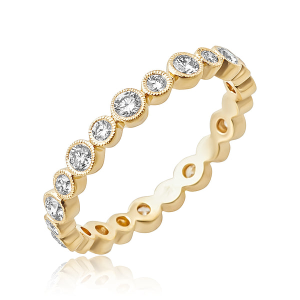 0.65 ctw Round Brilliant Cut Diamond Bezel Set Stackable Band with Milgrain Detail in 18kt YG