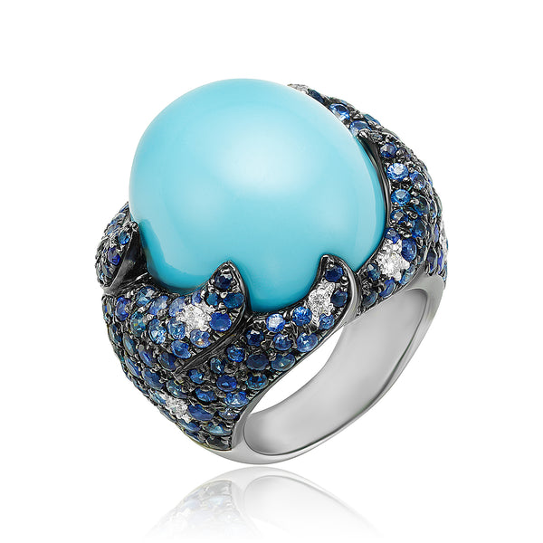 Turquoise Cabochon, 5.89 ctw Sapphire and 0.24 ctw Diamond Ring in 18kt WG