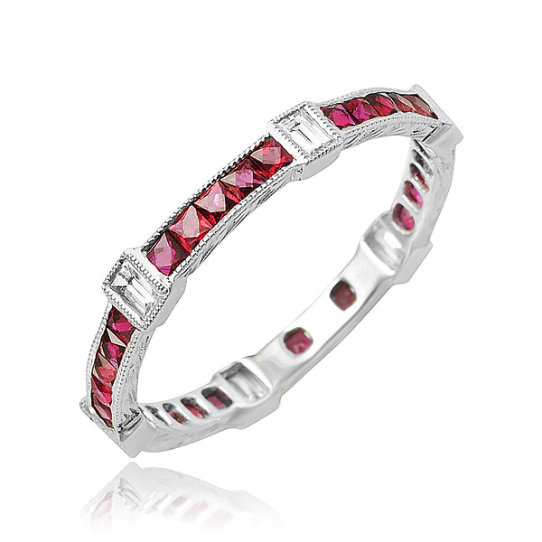 0.84 ctw Ruby and 0.22 ctw Diamond Channel Set Eternity Band in 18kt WG