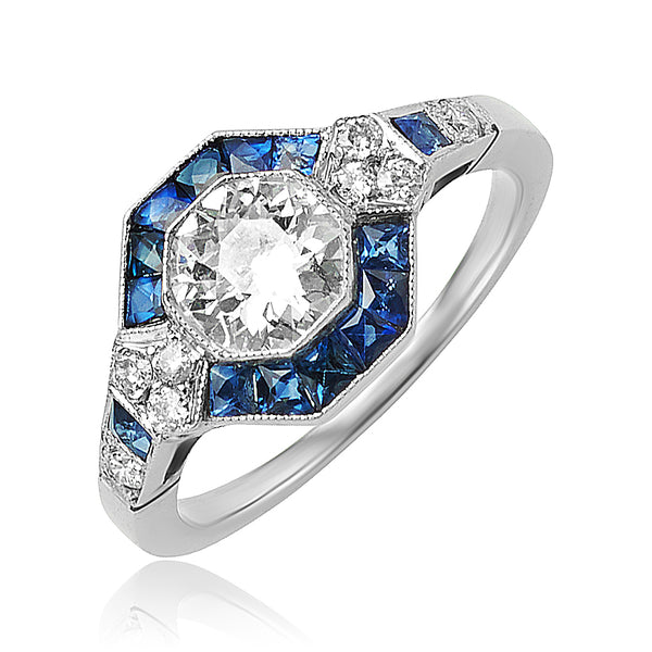 0.85 ct Old Mine Cut Diamond and Sapphire Ring in Platinum
