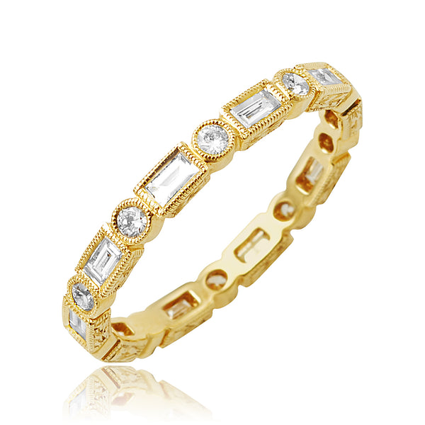 0.70 ctw Round Brilliant Cut and Baguette Cut Diamond Bezel Set Stackable Band with Milgrain Detail  in 18kt YG