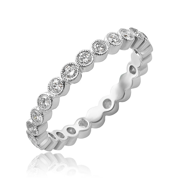 0.60 ctw Round Brilliant Cut Diamond Stackable Band with Milgrain Detail in 18kt WG