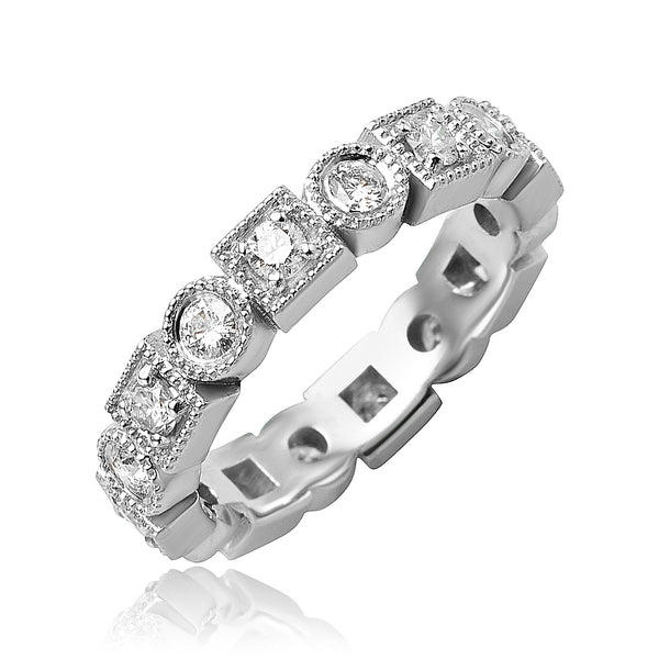 0.90 ctw Round Brilliant Cut Diamond Multi-Shaped Bezel Set Eternity Band with Milgrain Detail in 18kt WG