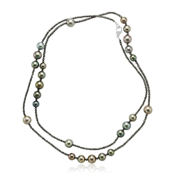 Tahitian Pearl and 65.39 ctw Black Diamond Necklace in 18kt WG