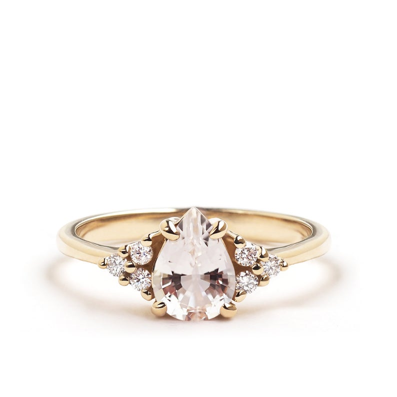 Champagne Morganite Pear Engagement Ring