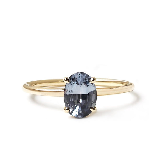 Gray Spinel Oval Cut Ring