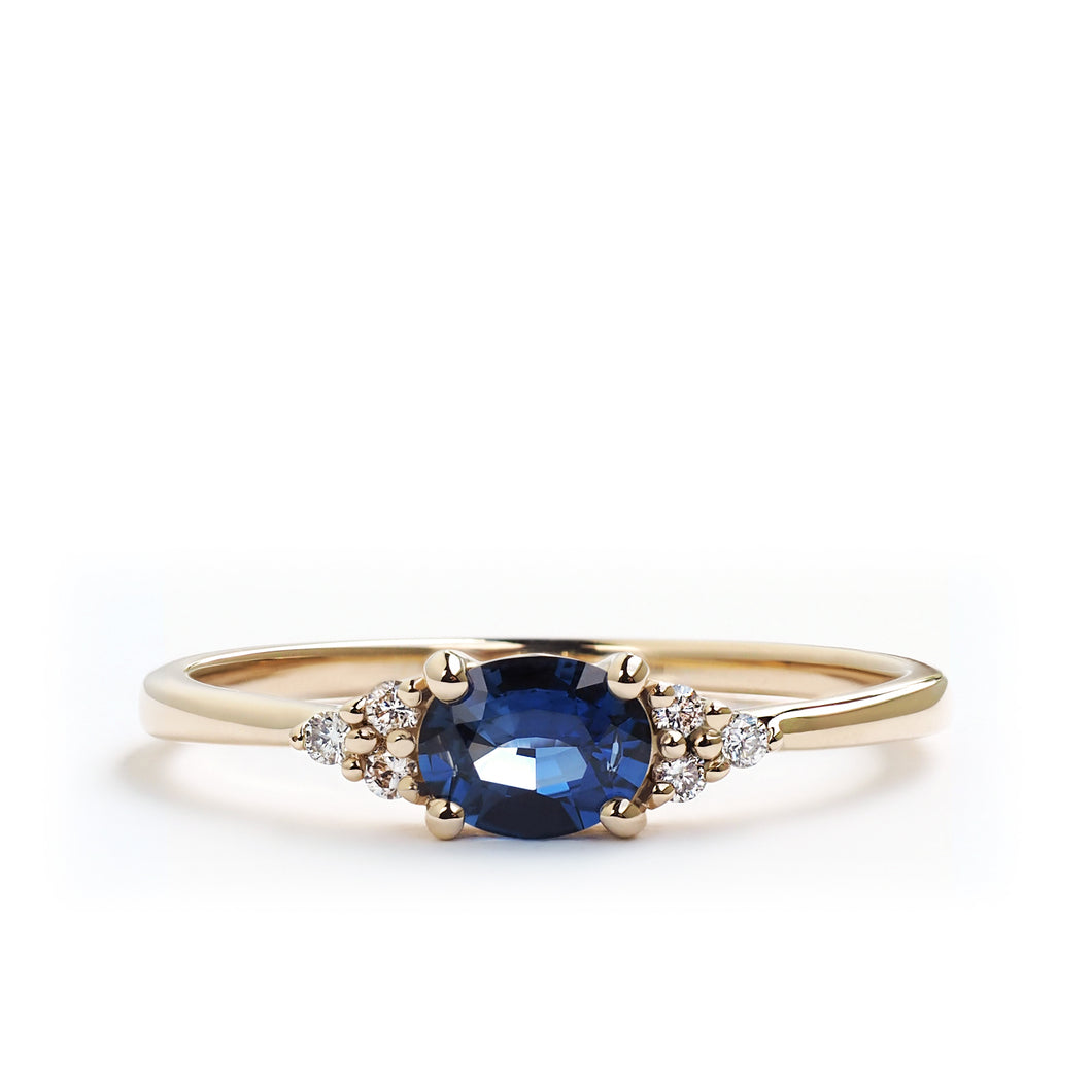 Oval Blue Sapphire Flora Ring