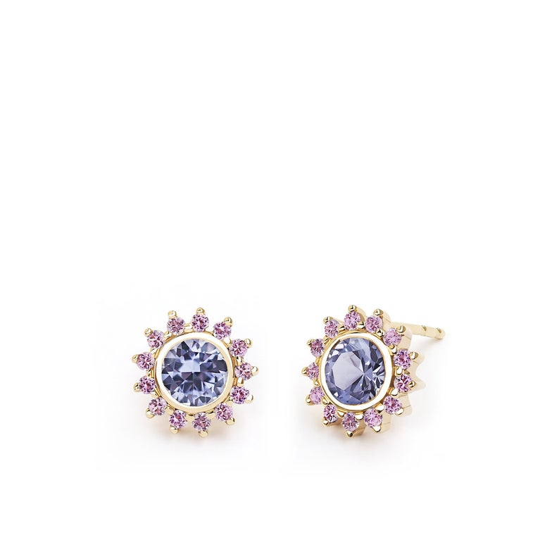 Purple Spinel and Pink Sapphire Flower Stud Earring