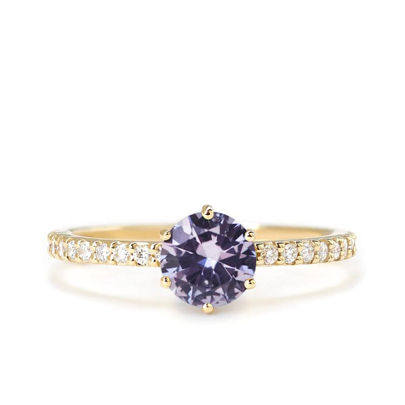 Lavender Purple Spinel Pave Ring