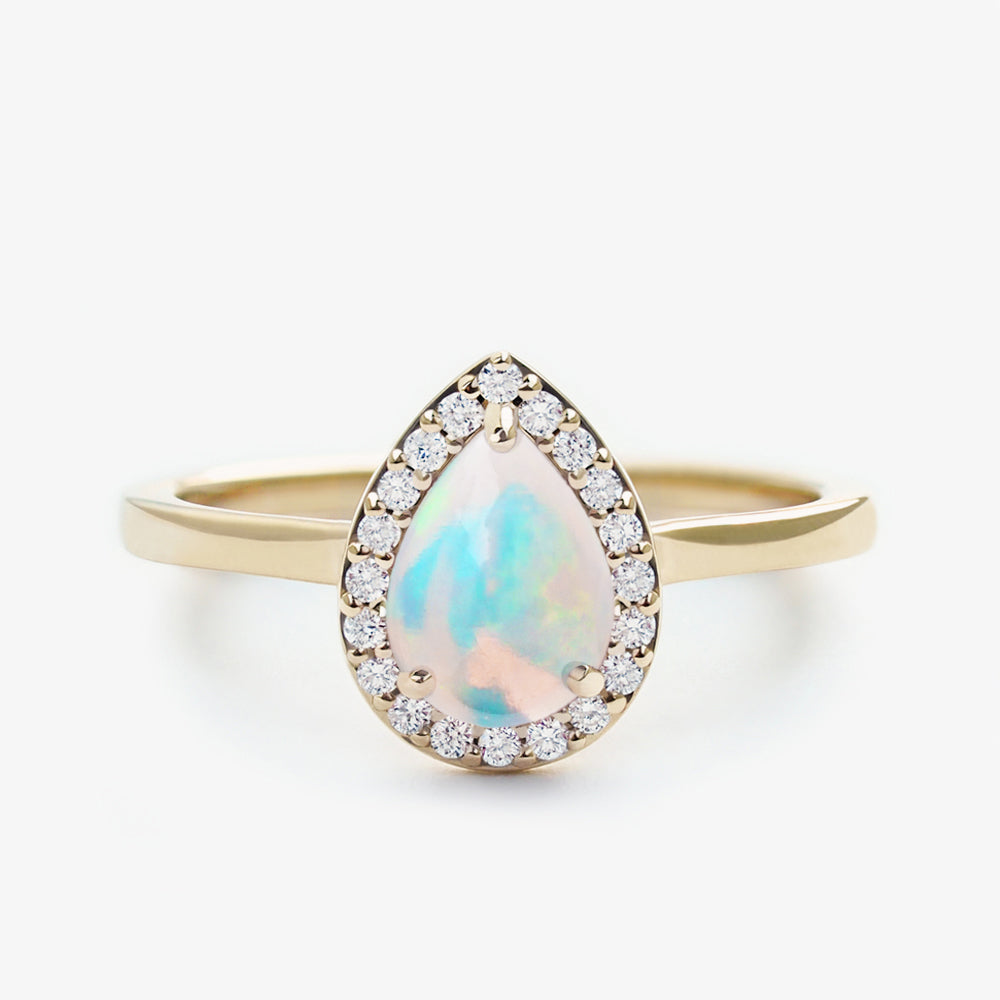 Pear Cut Opal Halo Engagement Ring