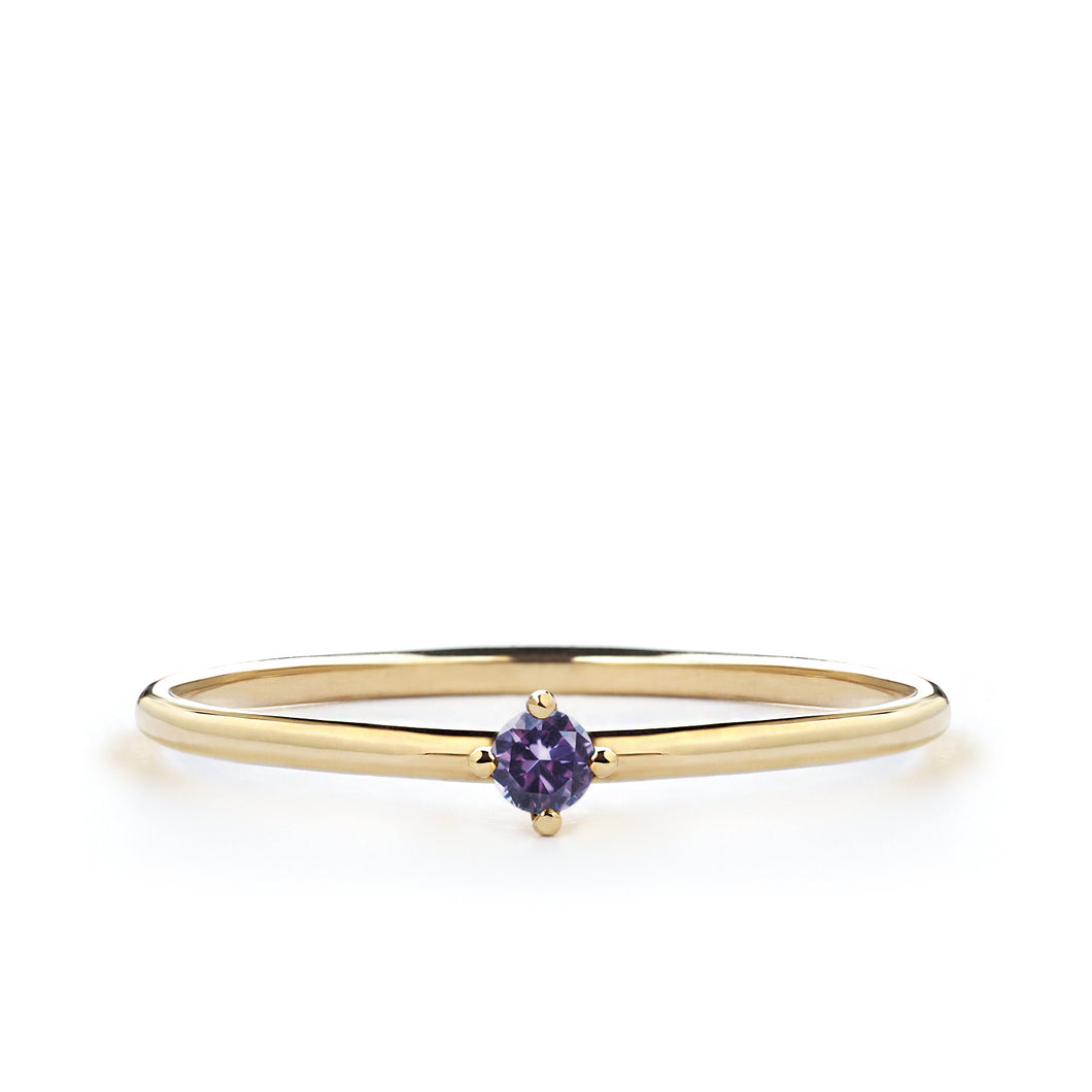 Tiny Violet Amethyst Ring