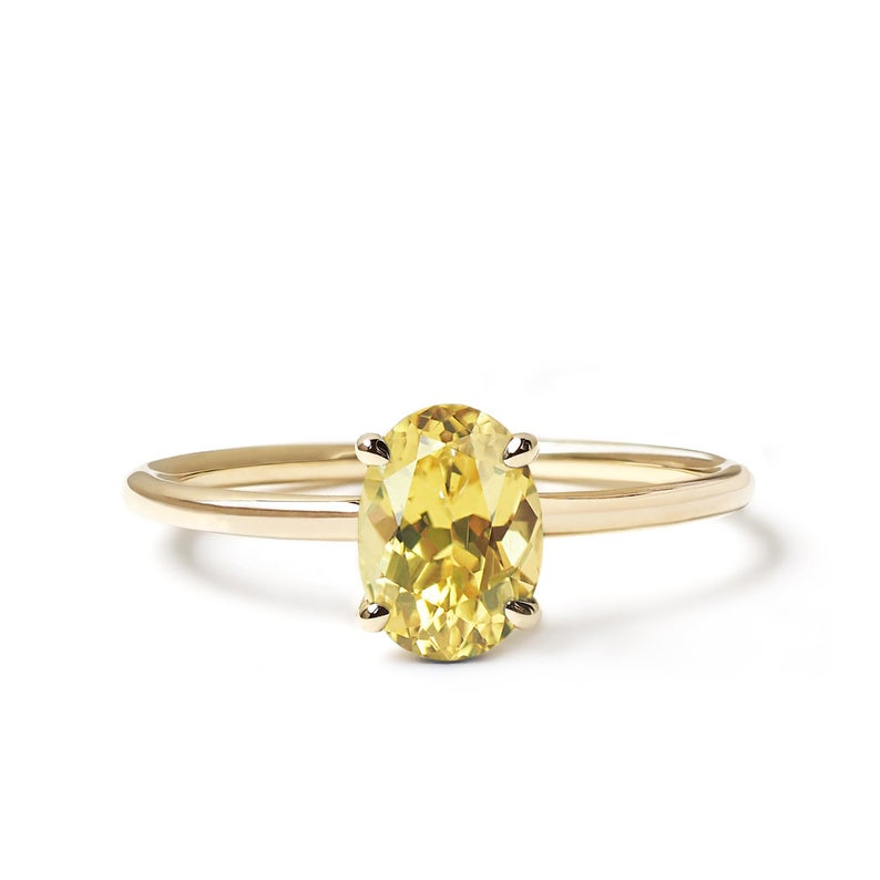Natural Yellow Sapphire Solitaire Engagement Ring