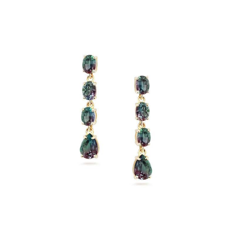 Color Change Garnet Statement Earrings, Chandelier Drop Earrings