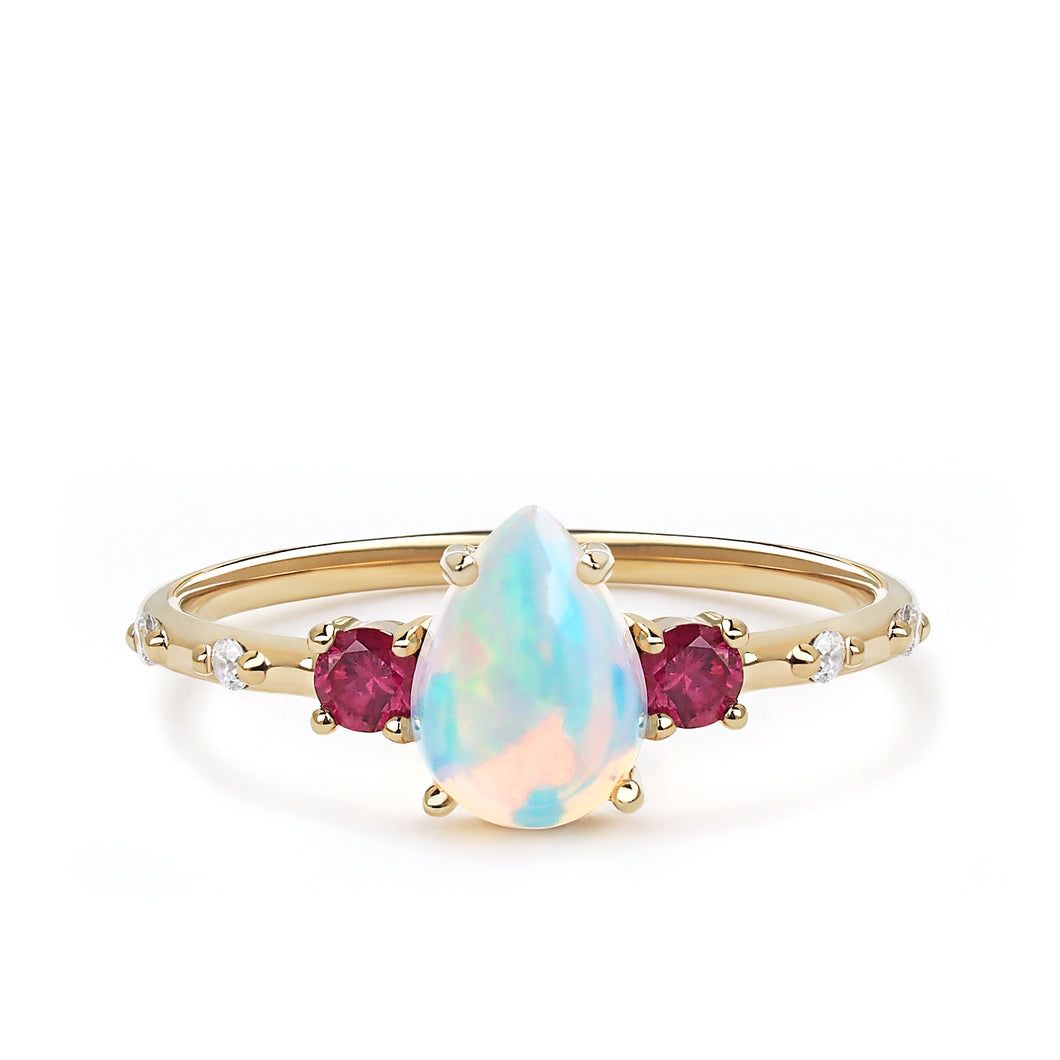 Opal Ruby Pear Ring
