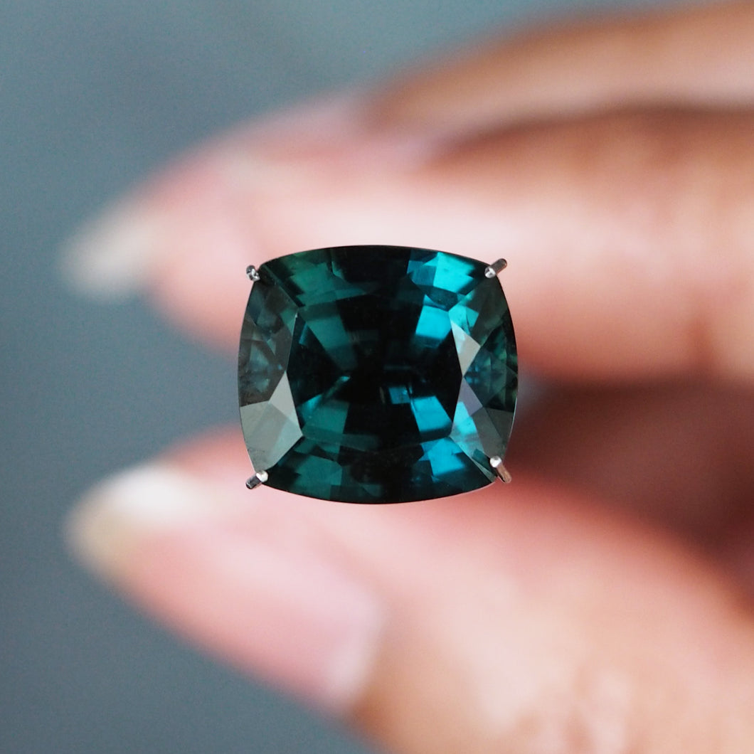 GIA Certified, 7.97CT Natural Teal Blue Green Sapphire, Cushion Shape, Madagascar