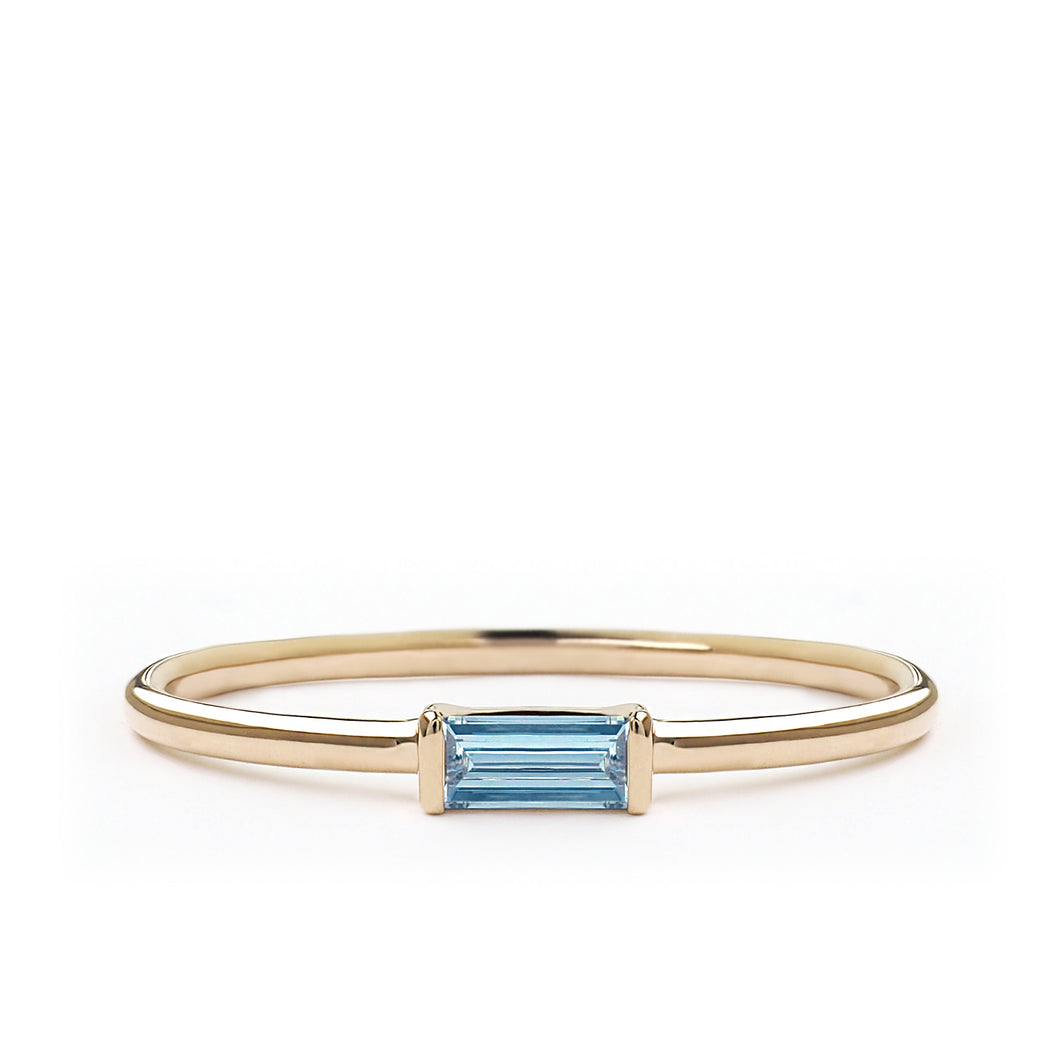 Aquamarine Baguette Cut Ring