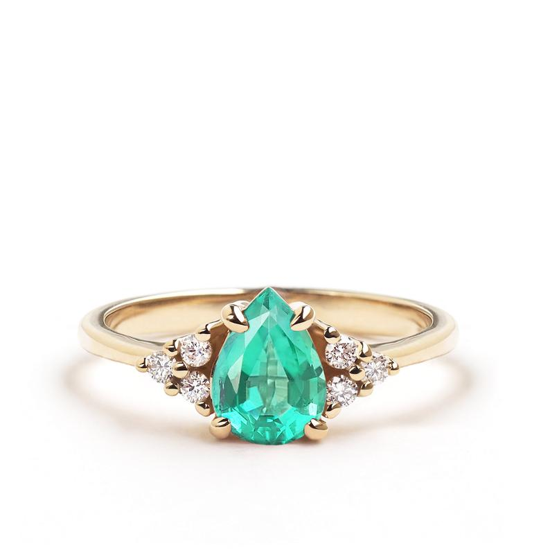 Natural Emerald Flora Ring